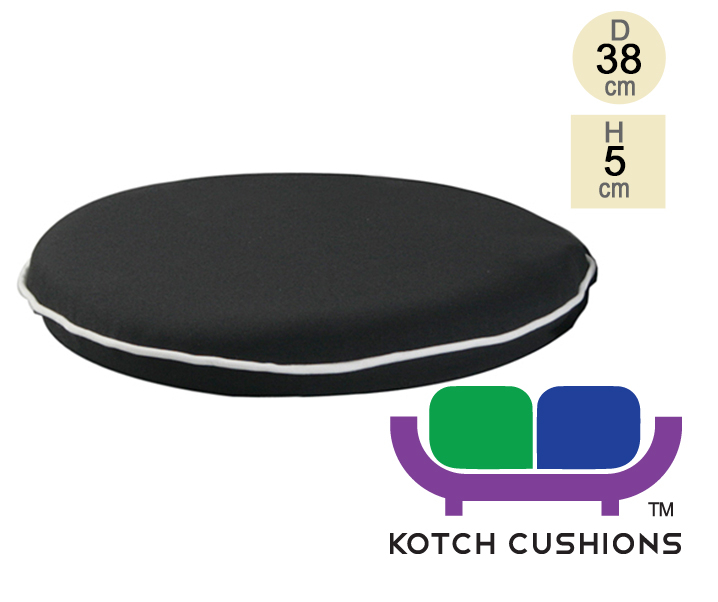 Premium Round Chair Cushion in Black by Kotch - 5cm Thick