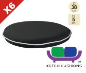 Set of 6 Premium Round Chair Cushions in Black by Kotch - 5cm Thick