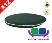 Set of 12 Premium Round Chair Cushions in Green by Kotch - 5cm Thick