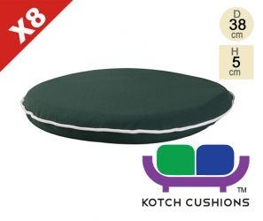 Set of 8 Premium Round Chair Cushions in Green by Kotch - 5cm Thick