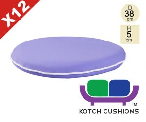 Set of 12 Premium Round Chair Cushions in Lilac by Kotch - 5cm Thick