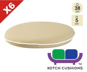 Set of 6 Premium Round Chair Cushions in Taupe by Kotch - 5cm Thick