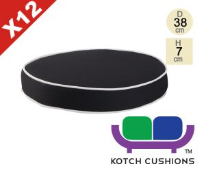 Set of 12 Deluxe Round Chair Cushions in Black by Kotch - 7cm Thick