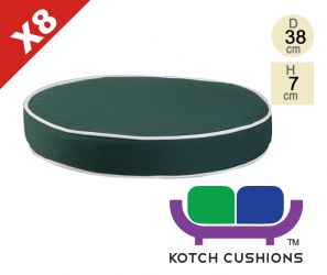 Set of 8 Deluxe Round Chair Cushions in Green by Kotch - 7cm Thick