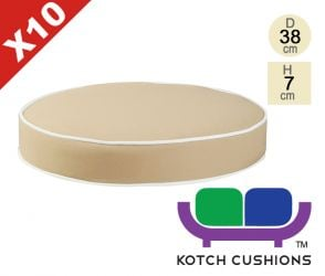 Set of 10 Deluxe Round Chair Cushions in Taupe by Kotch - 7cm Thick
