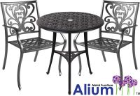 Alium� Cast Aluminium 2 Seater Bistro Furniture Set in Black