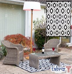 1.2m x 1.8m Outdoor Samti Rug in Black by Tabriz Rugs™
