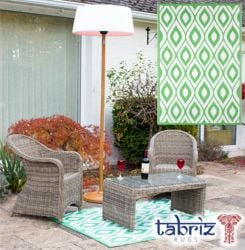 1.2m x 1.8m Outdoor Samti Rug in Green by Tabriz Rugs™
