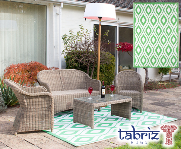 Outdoor Rug Samti in Green - 1.8m x 2.5m by Tabriz Rugs™