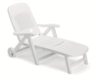 Splendida Resin Foldable Garden Sunbed with Wheels in White