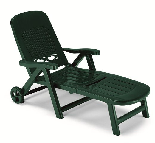 Splendida Resin Foldable Garden Sunbed with Wheels in Forest Green