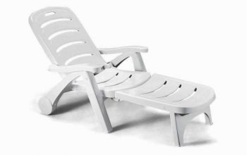 Stella Di Mare 2in1 Resin Garden Sunbed/Reclining Armchair in White