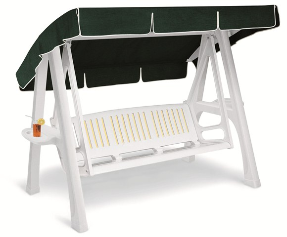 Scirocco Resin Garden 3 Seater Swing Seat Hammock with Canopy in White