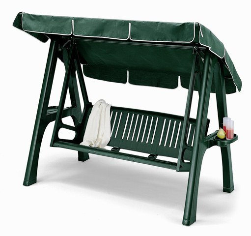 Scirocco Resin Garden 3 Seater Swinging Seat Hammock with Canopy in Forest Green
