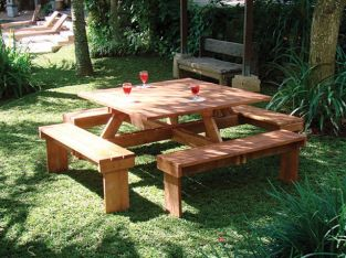Square Hardwood Garden Picnic Table