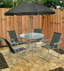 Mirini Synthetic 4 Seater Garden Furniture Set with Parasol
