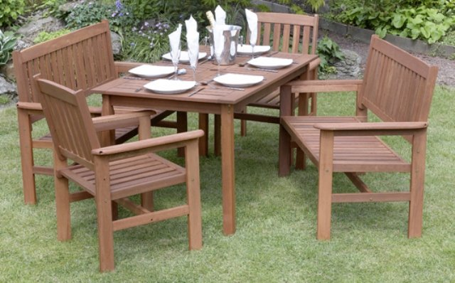 Tropicana Hardwood 6 Seater Garden Furniture Set with Benches