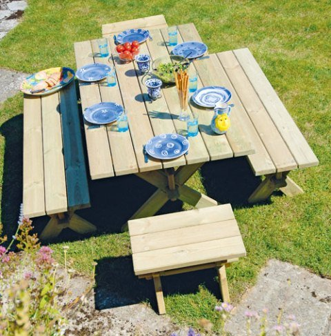 Alexander Rose Pine Farmers Garden Table with Backless Benches