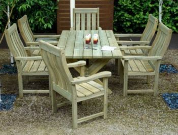 Alexander Rose Pine Farmers 6 Seater Rectangular Garden Furniture Set