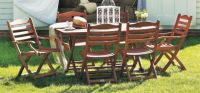 Alexander Rose Karri Hardwood 6 Seater Rectangular Garden Furniture Set in Ecru