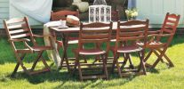 Alexander Rose Karri Hardwood 6 Seater Rectangular Garden Furniture Set in Green