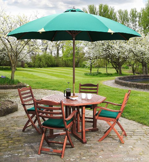 Alexander Rose Karri Hardwood 4 Seater Octagonal Garden Furniture Set in Green