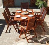 Alexander Rose Karri Hardwood 6 Seater Rectangular Garden Furniture Set in Copper