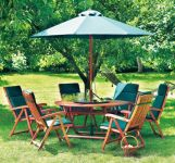 Alexander Rose Karri Hardwood 6 Seater Round Garden Furniture Set in Green