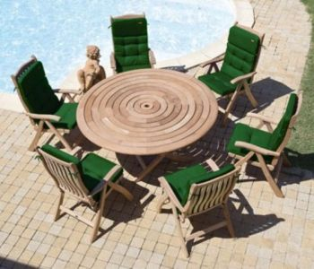 Alexander Rose Mahogany 6 Seater Round Garden Furniture Set in Taupe