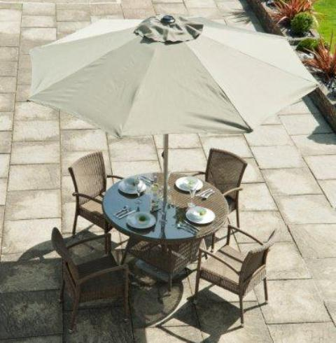 Alexander Rose Monte Carlo Rattan 4 Seater Round Garden Furniture Set with Stacking Chairs