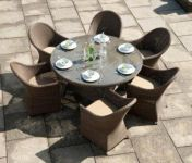 Alexander Rose Monte Carlo Rattan 6 Seater Round Garden Furniture Set with Curved Chairs
