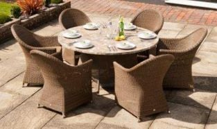 Alexander Rose Monte Carlo Rattan 6 Seater Round Mosaic Garden Furniture Set with Curved Armchairs
