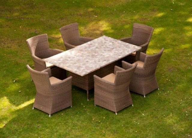 Alexander Rose Monte Carlo Rattan 6 Seater Rectangular Garden Mosaic Furniture Set with Square Chairs