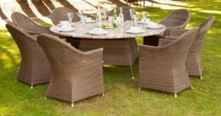 Alexander Rose Monte Carlo Rattan 8 Seater Round Garden Furniture Set with Curved Armchairs