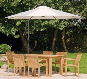Alexander Rose Teak Bengal 6 Seater Round Garden Furniture Set