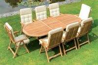 Alexander Rose Teak Mandalay 6 Seater Oval Garden Furniture Set in Ecru