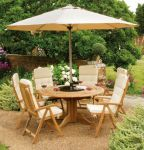 Alexander Rose Teak Bengal 6 Seater Round Garden Furniture Set in Ecru