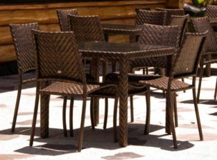 Alexander Rose Ocean Glass 4 Seater Square Garden Furniture Set with Fiji Dining Chairs