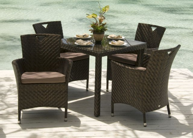 Alexander Rose Ocean 4 Seater Square Garden Furniture Set with Wave Armchairs