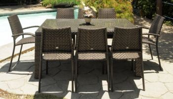 Alexander Rose Ocean 8 Seater Rectangular Garden Furniture Set with Fiji Armchairs