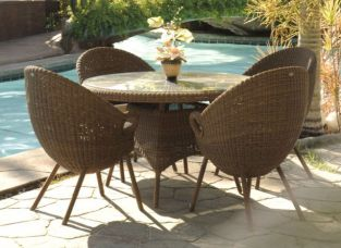 Alexander Rose San Marino 4 Seater Round Garden Furniture Set with Ovo Chairs