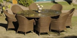 Alexander Rose San Marino 8 Seater Oval Garden Furniture Set with Curved Armchairs