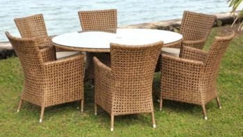 Alexander Rose Manila 6 Seater Oval Garden Furniture Set with Rattan Armchairs