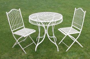 Hampton Steel Round Garden Bistro Set in Cream