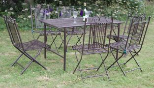 Ascalon Hereford Steel 6 Seater Rectangular Garden Furniture Set