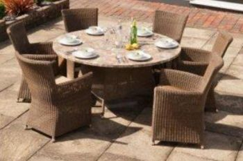 Alexander Rose Monte Carlo Rattan 6 Seater Round Mosaic Garden Furniture Set with Square Armchairs