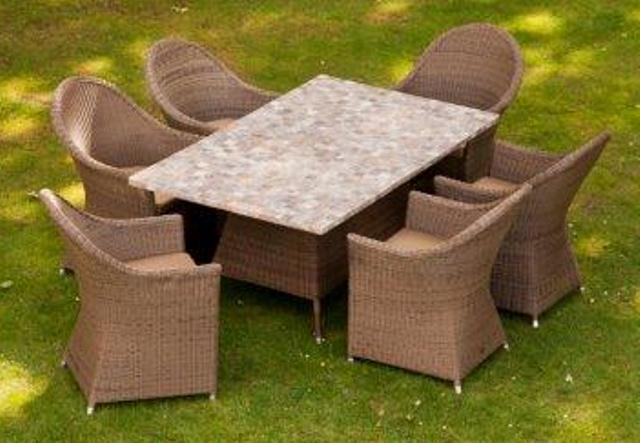 Alexander Rose Monte Carlo Rattan 6 Seater Rectangular Garden Mosaic Furniture Set with Curved Chairs
