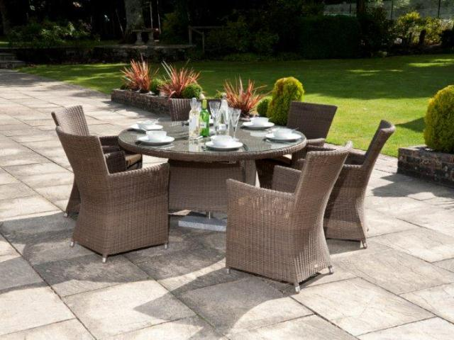Alexander Rose Monte Carlo Rattan 6 Seater Round Garden Furniture Set with Square Chairs