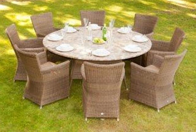 Alexander Rose Monte Carlo Rattan 8 Seater Round Garden Furniture Set with Square Armchairs