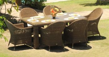 Alexander Rose San Marino 6 Seater Rectangular Garden Furniture Set with Curved Armchairs